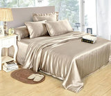 25 Momme Luxury Seamless 4pcs Pure Mulberry Silk Bedding Set with 1 fitted sheet, 1 flat sheet and 2 pillowcases