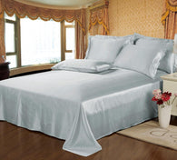 22 Momme Seamless Luxury 3pcs Mulberry Silk Bedding Set (1 Flat Sheet + 2 Oxford Pillowcases)