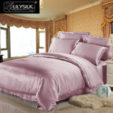 19 Momme Luxury Seamless Mulberry Silk 4 pieces Bedding Set - 1 Seamless Duvet Cover, 1 Pure Flat Sheet and 2 Terse Pillowcases