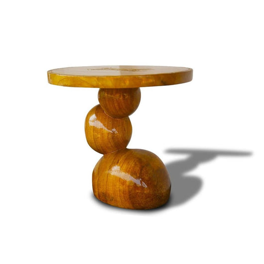 Roundels Hand-Carved West African Side Table for Living Room D40cmH40cm  - African Furniture for Living Room