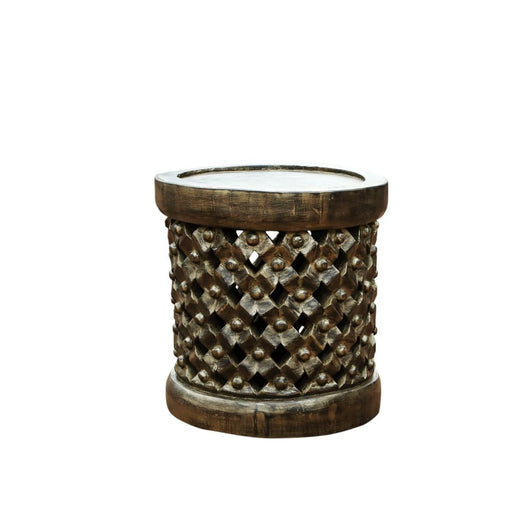 Hand Carved African Furniture Royal Cameroonian Bamileke 'Tabouret'/stool/End Side Table D40cm x H50cm- African Furniture for Living Room