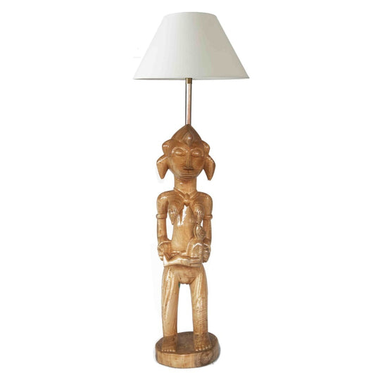 West African Vintage Senufo Maternity Statue with a baby Table Lamp for Décor D15cm x H80cm