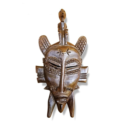 West African Vintage Tribal Ivory Coast Small Senufo Mask with Man on Head L10cm x W05cm x H23cm - Mask Wall Decor