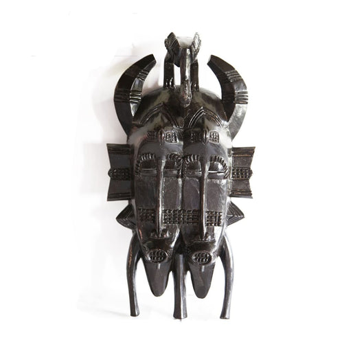 West African Vinatge Tribal Ivory Coast Senufo Twin Kpelie Mask with Horns L20cm x W10cm x H37cm - Masks Wall Decor