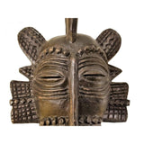 West African Vintage Tribal Ivory Coast Small Senufo Passport Mask with Scarification  L12cm x W06cm x H22cm -  Mask Wall Decor
