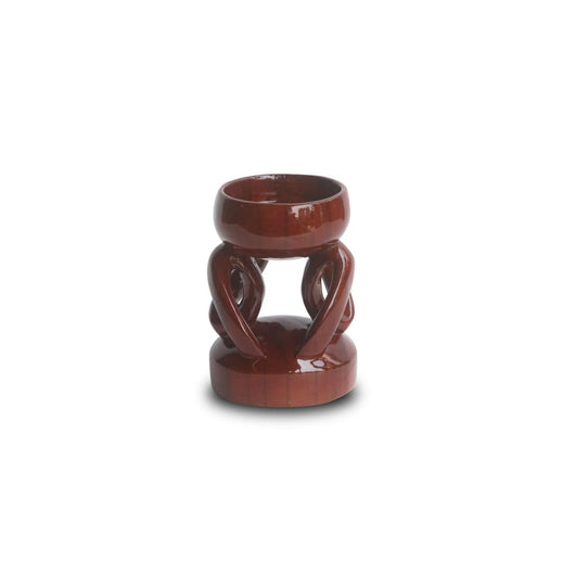Hand Carved African Acacia Major Small Sculpture Candleholder L05cm x W06cm x H10cm - African Candleholder for Table Décor - House Of Avana