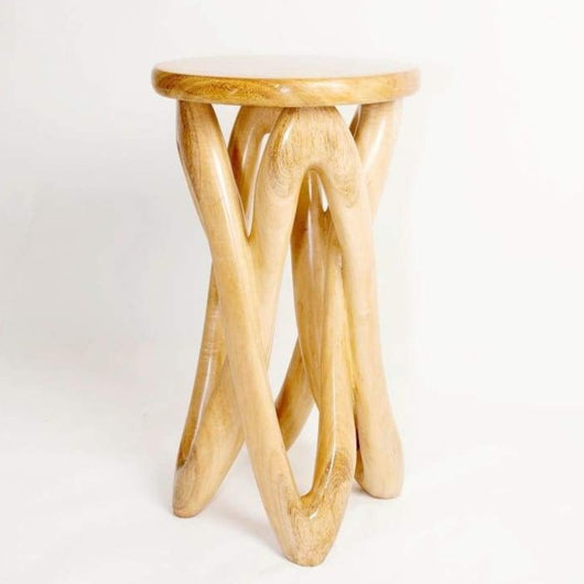 Hand Carved West African Monoxylous Solidarity Side Table D40cmH70cm