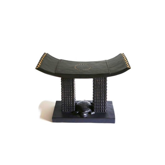 African Akan Turtle Tabouret/Wooden Stool/Accent Table/Side Table with Golden Highlights - L60cmxW30cmxH45cm- Furniture for Living Room