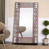West African Wall Décor Artisan Crafted Traditional Rectangular Mirror Frame D40cm