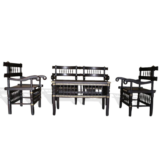 Traditional Malinka Set Of 4 Chairs And 1 Table - Furniture 100% Hand Crafted Africa African Art African Culture