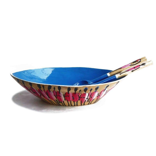 Wooden Salad Bowl With African Lifestyle Painted - Kitchen & Dining Dining & Entertaining Kitchen & Dining Serveware