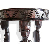 African Vintage Traditional Ethnic Baule End Table Teakwood D50cmH55cm - Furniture for Living Room - Furniture for Living Room