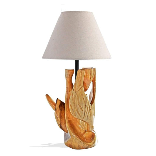 West African Style Hand Carved Teak Wood Wildlife Woodpecker Table Lamp D40cm x H42cm