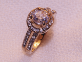 Gold-Toned Ring with Cubics Cluster