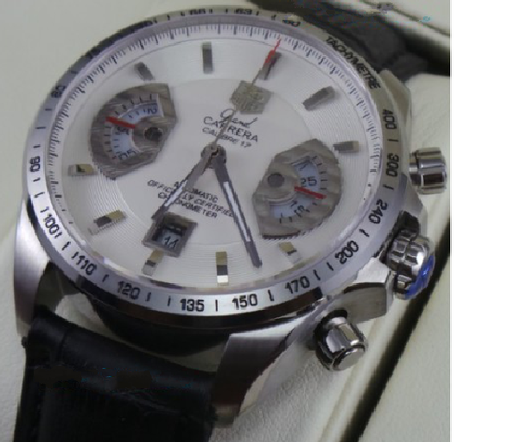 Tag Heuer Grand Carrera Calibre 17 Leather Strap White Swiss ETA 7750 Valjoux Movement Automatic Watch