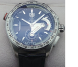 Tag Heuer Grand Carrera Calibre 36 Leather Strap Steel Black Swiss ETA 7750 Valjoux Movement Automatic Watch