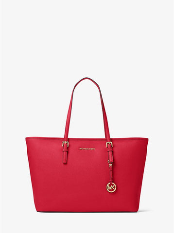MICHAEL KORS Jet Set Travel Large Saffiano Leather Top-Zip Tote