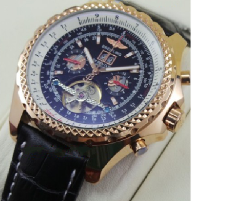 Breitling Bentley Swiss Automatic Tourbillon Leather Strap Watch