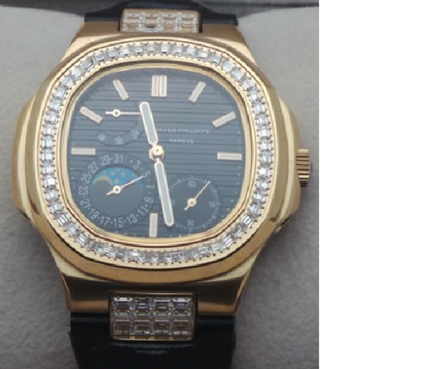Patek Philippe Nautilus Power Reserve Diamond Black Swiss ETA 7750 Valjoux Automatic Movement Watch