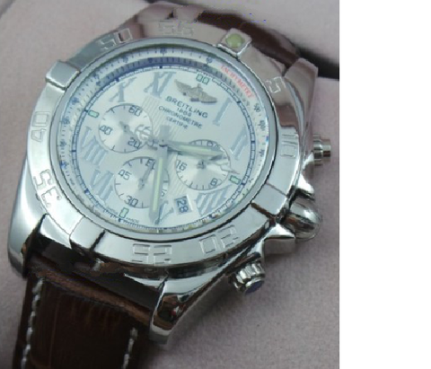 Breitling Chornometre White Steel Leather Strap Watch