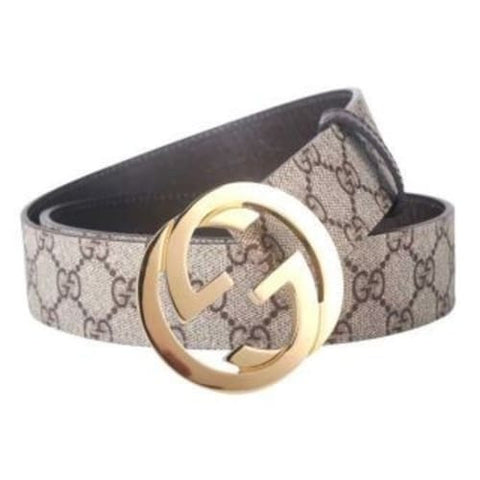 GUCCI GREY BELT GOLDEN BUCKLE