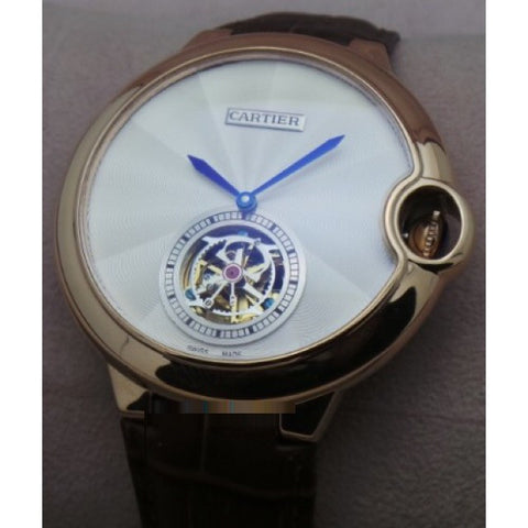 CARTIER BALLON BLEU DE FLYING TOURBILLON WHITE SWISS AUTOMATIC LETAHER STRAP WATCH