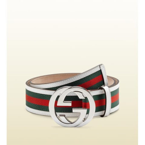 GUCCI WHITE SIGNATURE BELT