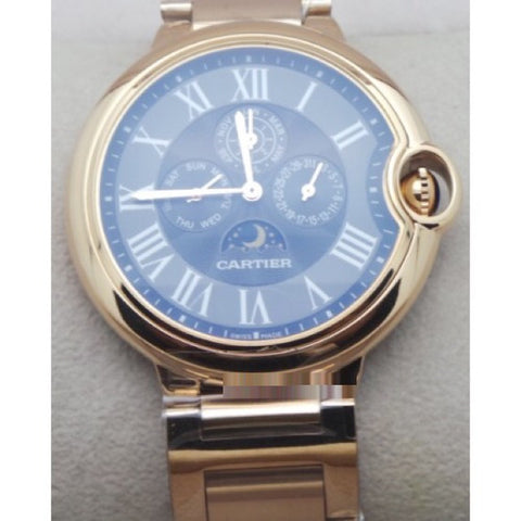 Cartier Ballon Bleu De Celender Black Rose Gold Watch