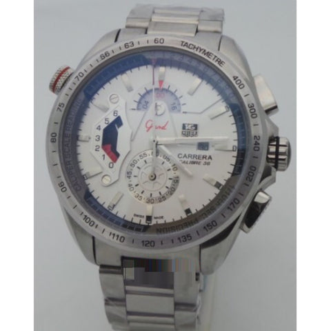 Tag Heuer Grand Carrera Calibre 36 Mens White - 2 Steel Watch