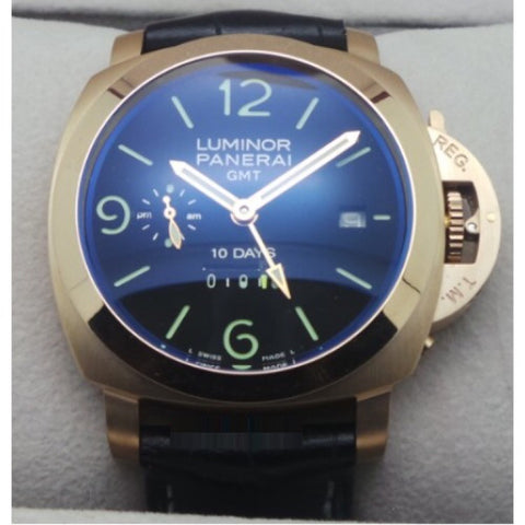 Luminor Panerai GMT 10 Day Power Resrve Rose Gold Swiss Automatic Watch