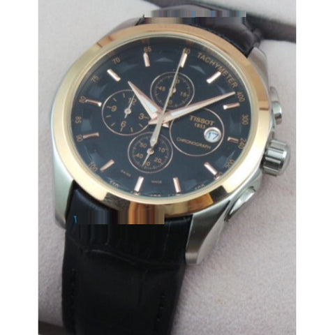 Tissot Couturier Chronograph Black Leather Strap Watch
