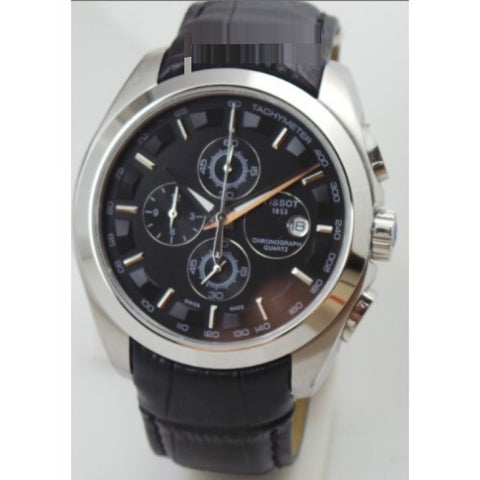 Tissot Couturier Chronograph Black Steel Leather Strap Watch