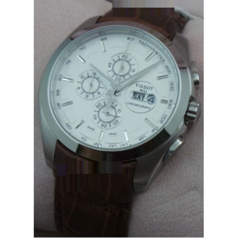 TISSOT COUTURIER DAY DATE CHRONOGRAPH LEATHER STRAP STEEL WATCH
