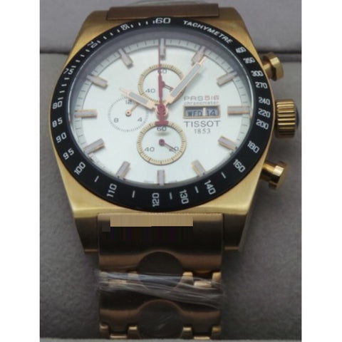 Tissot Prs 516 Chronograph Rose Gold White Watch