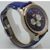 Breitling Navitimer Chrono Full Blue Rose Gold Leather Strap Watch