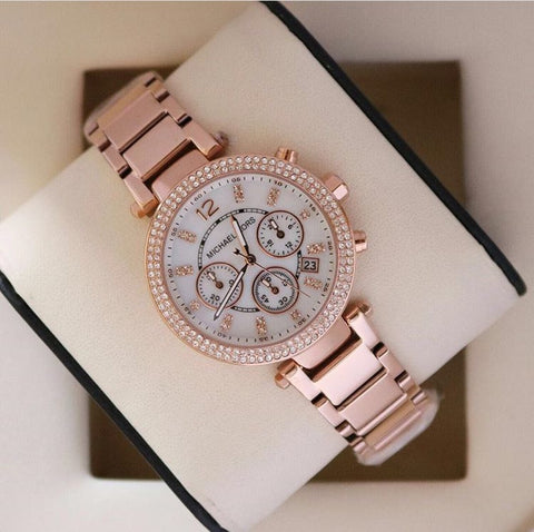 MK Wren Pave Rose Gold Watch