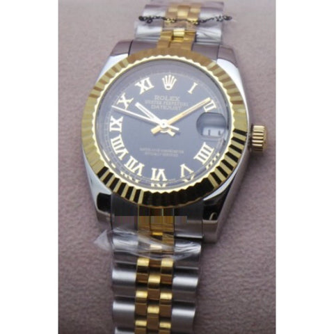 Rolex Datejust Roman Marker Dual Tone Black Quartz Ladies Watch