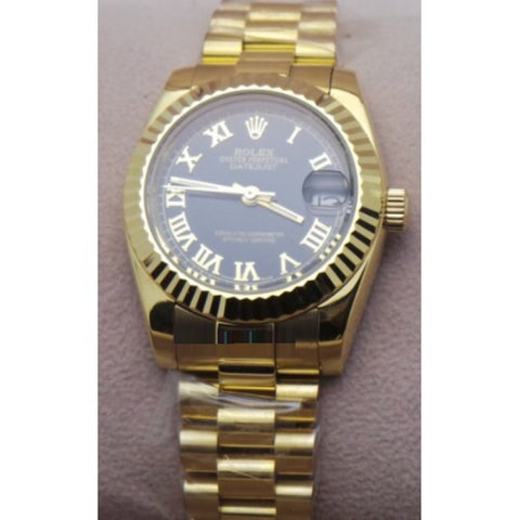 Rolex Datejust Roman Marker Gold Black Swiss Automatic Ladies Watch