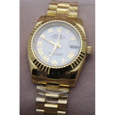 Rolex Datejust Roman Marker Gold Quartz Ladies Watch