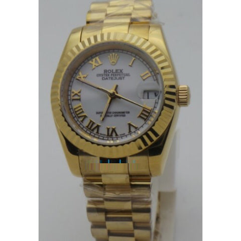 Rolex Datejust Roman Marker Gold Swiss Automatic Ladies Watch