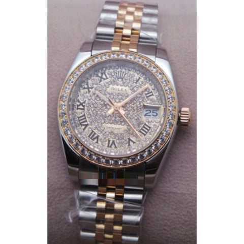 Rolex Date-Just Diamond Dual Tone Quartz Ladies Watch