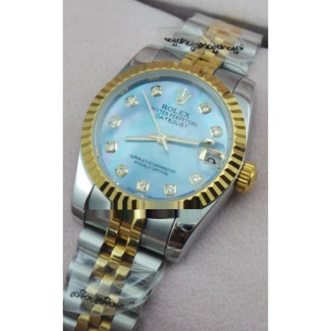 Rolex Datejust Diamond Marker Blue Quartz Ladies Watch