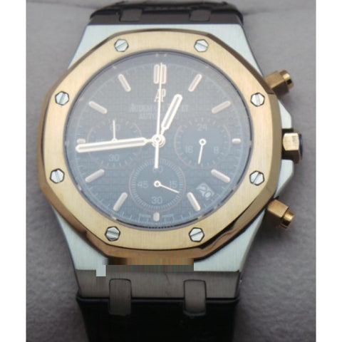 Audemars Piguet Chronometer Rose Gold Black Leather Strap Watch