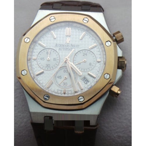 Audemars Piguet Chronometer Rose Gold White Leather Strap Watch