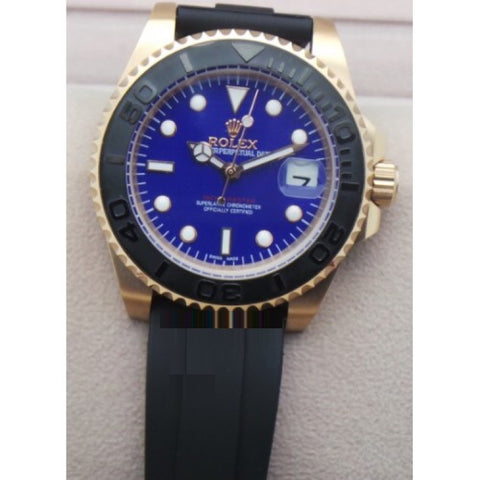 Rolex Yacht Master Rubber Strap BLUE Swiss Automatic Watch