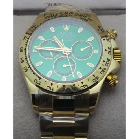 Rolex Oyster Perpetual Daytona Golden Green Swiss ETA 7750 Valjoux Movement Watch