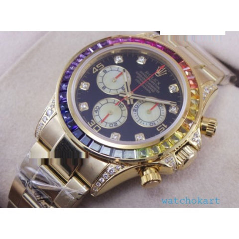 Rolex Cosmograph Daytona Rainbow Jewels Swiss ETA 7750 Valjoux Movement Watch