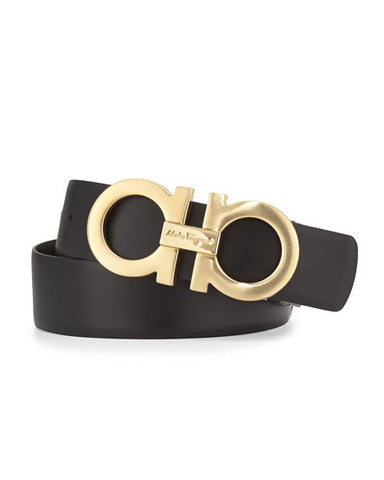 Salvatore Ferragamo Reversible Leather Belt, Black