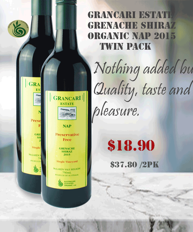 Grenache Shiraz Grancari No Added  Preservative Winepronto Twin pack