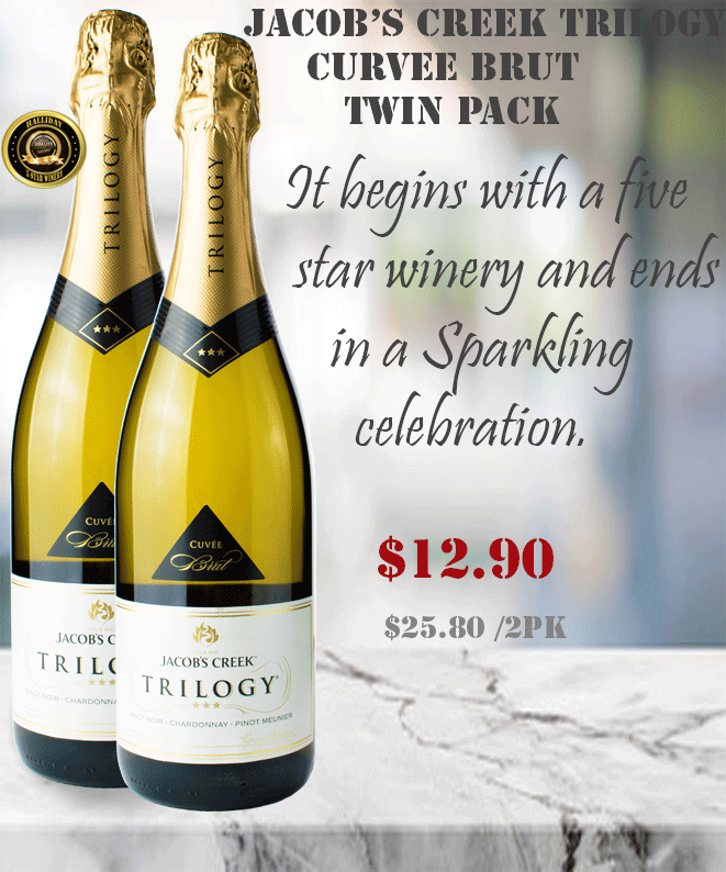 acob's Creek Trilogy Sparkling Cuvee Brut Winepronto Twin Pack